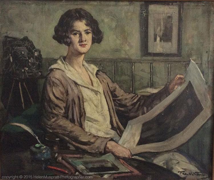 Portrait of Helen Muspratt in her studio by Fra Newbery c 1930