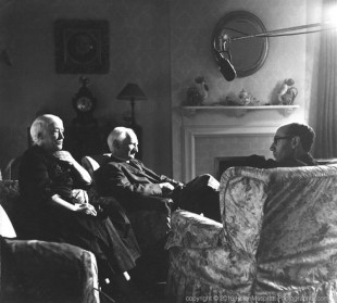 Lord and Lady Beveridge being interviewed in their home by ABC Television 1956 (Helen Muspratt)